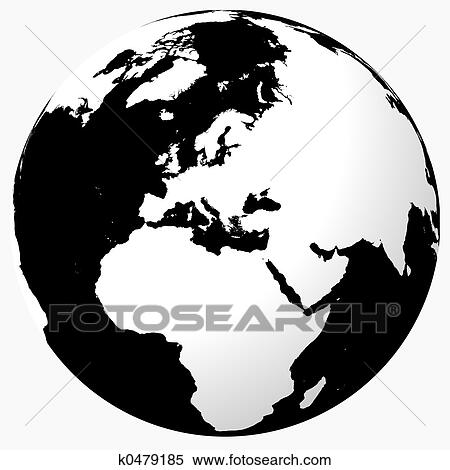 Stock Illustration   Black U0026 White World. Fotosearch   Search Clipart,  Drawings, Decorative
