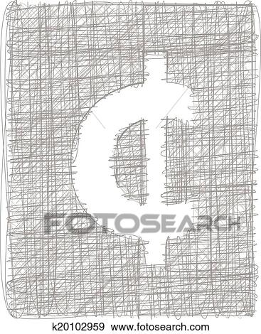 Clip Art Of Cent Sign Freehand Symbol K20102959 Search Clipart