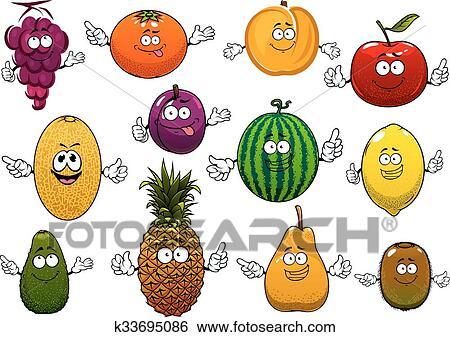 Clip Art - feliz, maduro, y, fresco, caricatura, frutas k33695086 ...