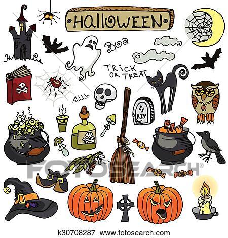 Clip Art Halloween Scarabocchiare Elementi Setisolated