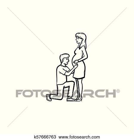 Happy Couple Expecting A Baby Hand Drawn Outline Doodle Icon Clipart K57666763 Fotosearch