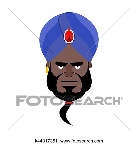 Indian face in turban angry Emoji  Head man of India evil emotion isolated  Clipart