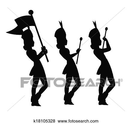 pictures of majorettes in silhouette k18105328 search stock photos rh fotosearch com Majorette Silhouette majorette clipart black and white