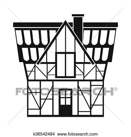 Dessins - Moitié Bois, Maison, Dans, Allemagne, Icône, Simple, Style