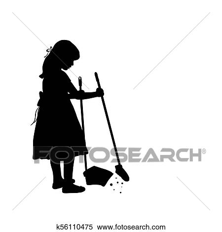 Silhouette Girl Is Cleaning Sweeps The Floor Clipart K56110475 Fotosearch