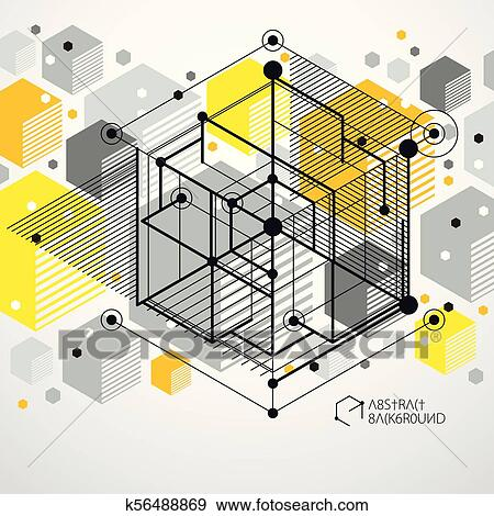 Vector of modern abstract cubic lattice lines yellow background  Layout of  cubes, hexagons, squares, rectangles and different abstract elements