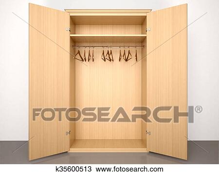 Drawing Of 3d Illustration Of Empty Open Wooden Wardrobe With