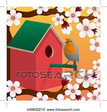 Clipart Of Bird Near Birdhouse Blossoming Spring Tree Spring