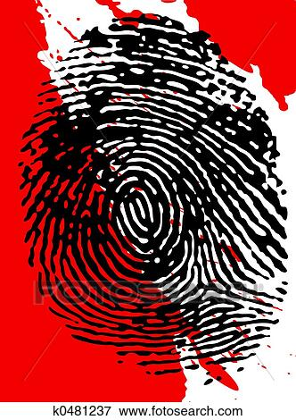 Black Fingerpinrt On A Blood Splattered Background
