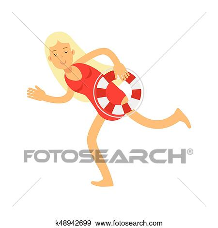 63b88c4b355d Blonde lifeguard girl character in a red swimsuit running with lifebuoy  vector Illustration Clip Art