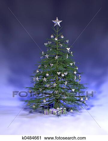 a blue silver christmas tree rendered on a blue background - Christmas Tree Blue And Silver