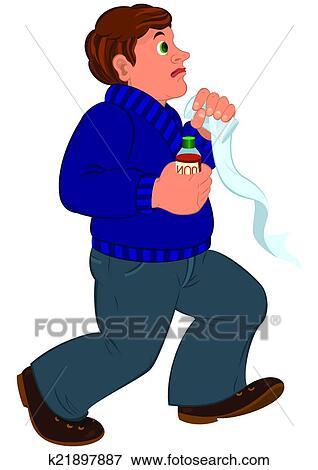 Cartone animato uomo con capelli marroni in blu maglione con
