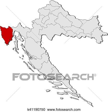 Clipart of Map - Croatia, Istria k41190750 - Search Clip Art ...