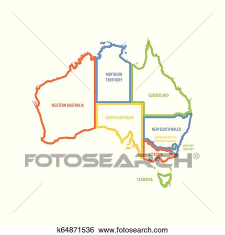 Australia Map Territories.Simplified Map Of Australia Divided Into States And Territories Multicolored Outline Flat Vector Map Clip Art