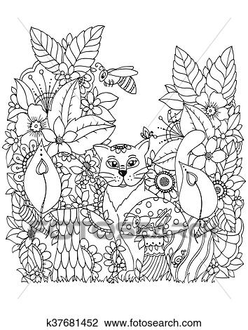 Vector illustration Zen tangd, cat sitting in the flowers. Doodle ...