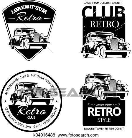 Clip Art Of Classic Muscle Car Vector Labels Emblems And Badges Set