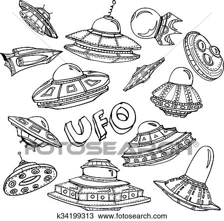 Clipart Of Collection Of Ufo K34199313