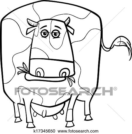 Clipart Of Cow Farm Animal Coloring Page K17345650