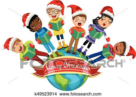 clipart of multicultural kids wearing xmas hat singing christmas rh fotosearch com multiculturalism clipart multicultural clipart free