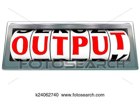 stock photography of output word letter dials results productivity