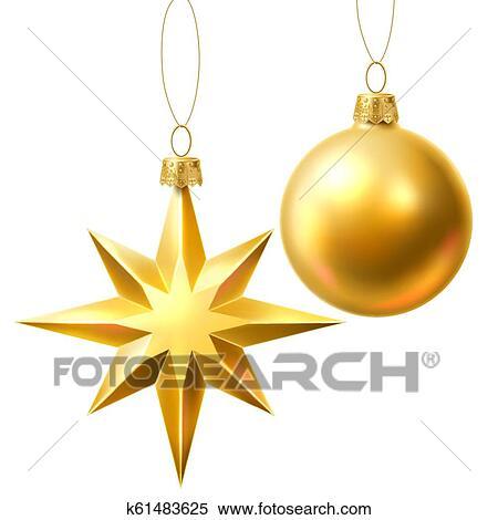 Vector Christmas Tree Golden Realistic Toys Set Clipart K61483625