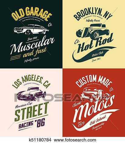 0cbccd608 Vintage roadster, custom hot rod and muscle car vector tee-shirt logo  isolated set. Premium quality old sport vehicle logotype t-shirt emblem  illustration.
