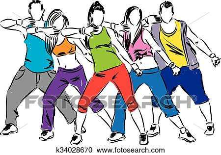 clipart of zumba dancers illustration k34028670 search clip art rh fotosearch com zumba clip art graphic free zumba dancer clipart