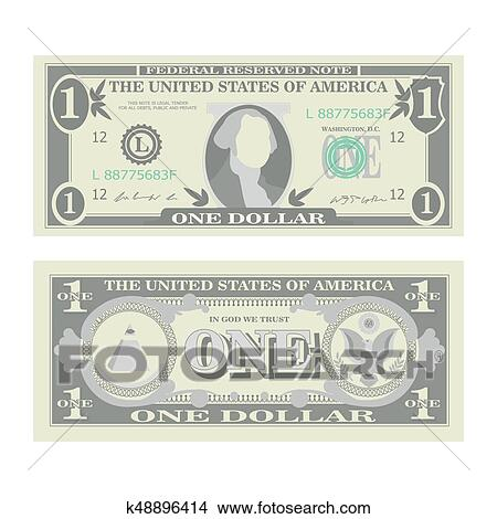 1 Dollar Banknote Vector Cartoon Us Currency Two Sides Of One American Money Bill Isolated Ilration Cash Symbol Clipart