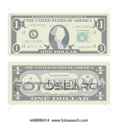 1 Dollar Banknote Vector Cartoon Us