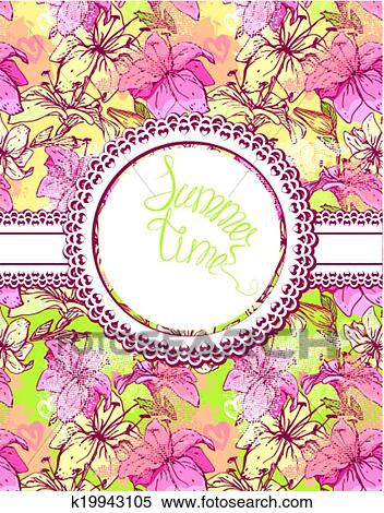 Clipart of Card with hand drawn flowers - tiger lilly. Floral ...