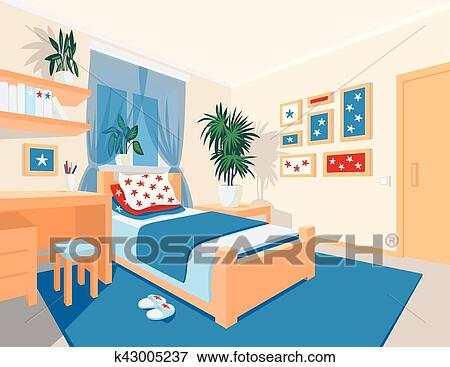 clipart color int rieur de chambre coucher dans. Black Bedroom Furniture Sets. Home Design Ideas