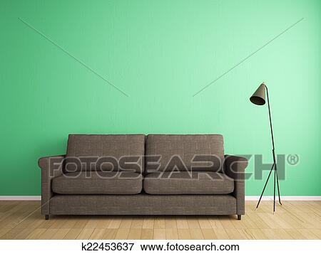 Gut bekannt Deko, stoff, sofa, und, grüne wand Stock Illustration   k22453637 GA46