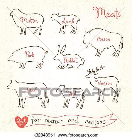 Ensemble Dessins De Viande Symboles Boeuf Porc Agneau Mouton Lapin Bison Veau Venaison Silhouettes Animaux Pour Conception Menus
