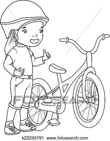Clipart - färbung, book:, mädchen, mit, fahrrad k22255791 - Suche ...