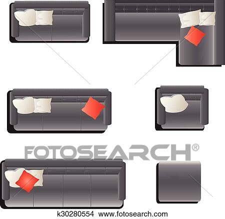 Furniture Top View Set 15 Clipart K30280554 Fotosearch
