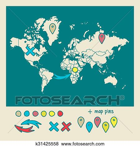 World Map With Pins Hand Drawn World Map With Pins And Arrows Vector Design
