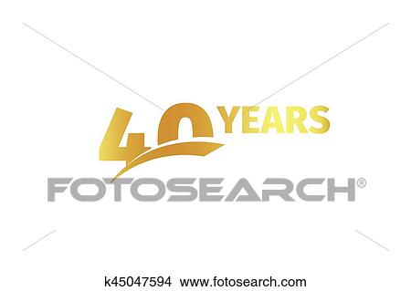 Clipart Of Isolated Golden Color Number 40 With Word Years Icon On