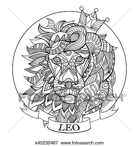Clip Art - löwe, tierkreis, zeichen, ausmalbilder, vektor k45232467 ...