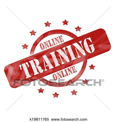 Stock Illustration Of Red Weathered Online Training Stamp Circle And