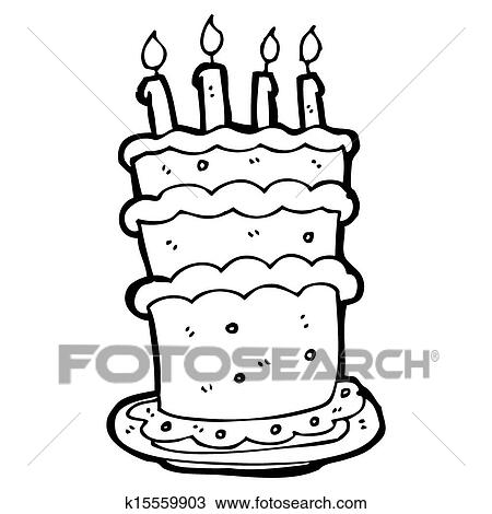 Remarkable Cartoon Birthday Cake Drawing K15559903 Fotosearch Funny Birthday Cards Online Alyptdamsfinfo