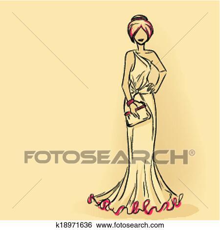 Clip Art Elegante Donna Con Frizione K18971636 Cerca Clipart
