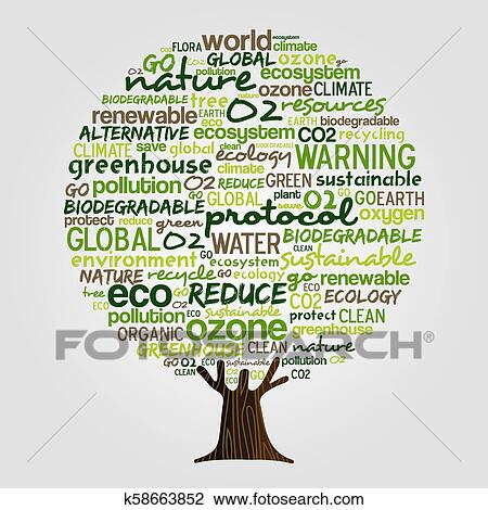 Green Tree Made Of Eco Friendly Text Quotes Clipart