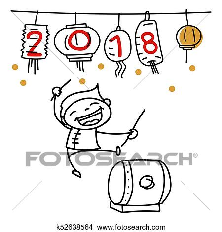 clipart hand drawing cartoon character people happy chinese new year 2018 fotosearch search