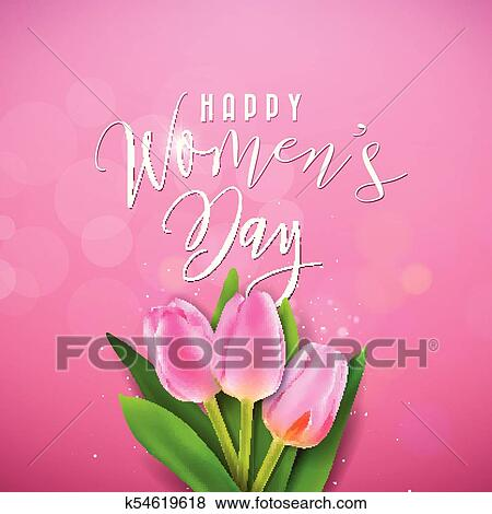 clip art of happy womens day illustration with tulip bouquet and