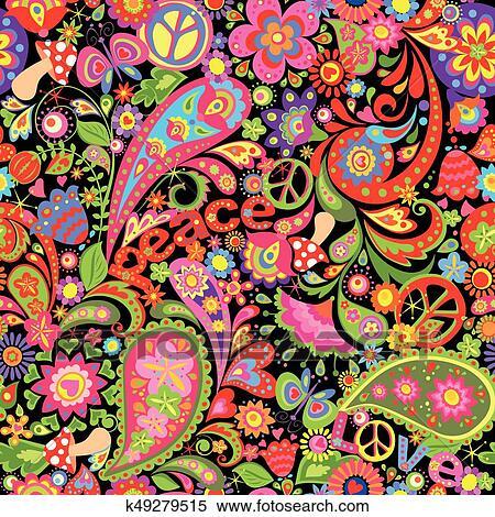 Fiori Hippie.Hippie Vivido Carta Da Parati Con Colorito Estratto Fiori