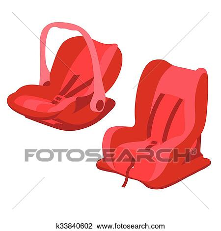 Clipart Of Red Baby Car Seats Set K33840602