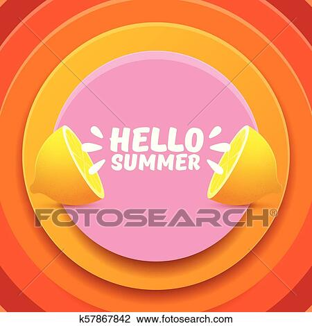 Vector Hello Summer Beach Party Flyer Design Template With
