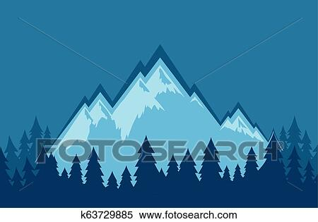 Vector Nature Landscape Wallpaper With Mountains In Blur