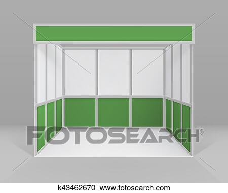 Exhibition Stand White : Vector white green blank indoor trade exhibition booth standard