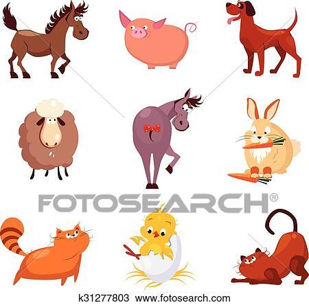 Animais Domesticos E Passaros Vetorial Ilustracoes